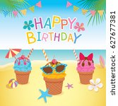 happy birthday card design with ...   Shutterstock .eps vector #627677381
