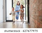 excited children arriving home... | Shutterstock . vector #627677975