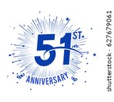 51st anniversary logo with... | Shutterstock .eps vector #627679061