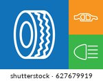 set of 3 vehicle outline icons   Shutterstock .eps vector #627679919