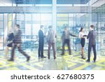 people in an office lobby with... | Shutterstock . vector #627680375