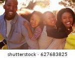 portrait of happy family in... | Shutterstock . vector #627683825