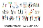 work in office set on white... | Shutterstock . vector #627684527