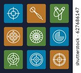 aim icons set. set of 9 aim... | Shutterstock .eps vector #627686147