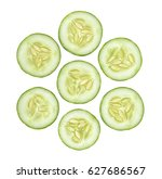 slice cucumber isolated on the... | Shutterstock . vector #627686567