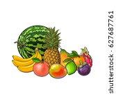 tropical fruits   grapefruit...   Shutterstock .eps vector #627687761