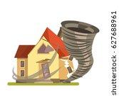 hurricane crashing the house | Shutterstock .eps vector #627688961