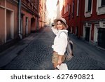 travel guide. young female... | Shutterstock . vector #627690821