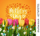 happy mother's day card.... | Shutterstock .eps vector #627693701