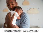 Father Holding Newborn Baby Son ...