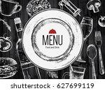 restaurant menu design. vector... | Shutterstock .eps vector #627699119