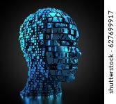 3d rendering  human head made... | Shutterstock . vector #627699917
