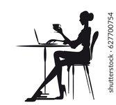 cafe work  women silhouette  on ... | Shutterstock . vector #627700754