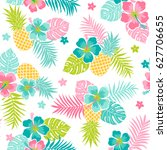 hibiscus  pineapple and... | Shutterstock .eps vector #627706655