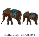 two ornamental elephant in the... | Shutterstock . vector #627708011