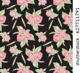 watercolor pink roses pattern | Shutterstock . vector #627711791