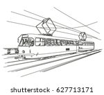 old tram hand drawn  vector | Shutterstock .eps vector #627713171