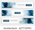 web header. set of horizontal... | Shutterstock .eps vector #627715991