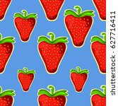 strawberry. seamless vector... | Shutterstock .eps vector #627716411