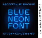 neon tube alphabet font. blue... | Shutterstock .eps vector #627716615