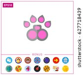 cat paw with pink pads icon | Shutterstock .eps vector #627718439