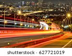 blurred tail lights and traffic ... | Shutterstock . vector #627721019