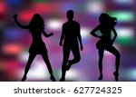 silhouette of dancing people ... | Shutterstock .eps vector #627724325