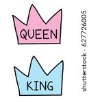 king and queen crowns  flat... | Shutterstock .eps vector #627726005