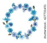 Watercolor Cornflowers Wreath