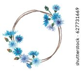 Watercolor Cornflowers Wreath