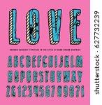 decorative sanserif bulk font....   Shutterstock .eps vector #627732239