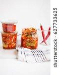 kimchi glass jars. cabbage...   Shutterstock . vector #627733625