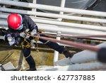top view male worker rope... | Shutterstock . vector #627737885