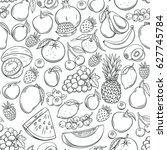 hand drawn fruits seamless... | Shutterstock .eps vector #627745784