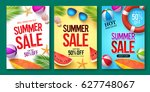 summer sale vector poster set... | Shutterstock .eps vector #627748067
