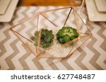 the wooden festive table is... | Shutterstock . vector #627748487
