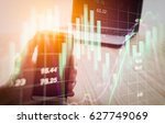 double exposure businessman and ... | Shutterstock . vector #627749069