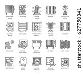 vector line icons with radiator ... | Shutterstock .eps vector #627750341