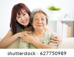 grandmother and granddaughter.... | Shutterstock . vector #627750989