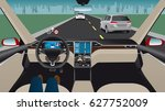 autonomous self driving car... | Shutterstock .eps vector #627752009