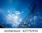 electricity transmission pylon... | Shutterstock . vector #627752954