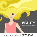 beautiful girl with long thick... | Shutterstock .eps vector #627755069