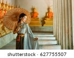 asian woman wearing traditional ... | Shutterstock . vector #627755507