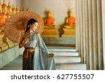 asian woman wearing traditional ... | Shutterstock . vector #627755507