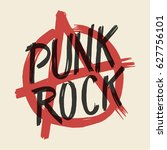 punk rock anarchy sign printed... | Shutterstock .eps vector #627756101