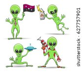 cartoon funny aliens set. green ... | Shutterstock .eps vector #627757901
