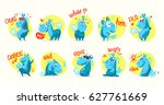collection of flat funny... | Shutterstock . vector #627761669