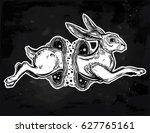 hare running or jackrabbit... | Shutterstock .eps vector #627765161