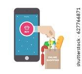 online shopping ecommerce 24... | Shutterstock .eps vector #627766871