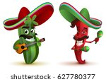 red hot chili peppers and... | Shutterstock .eps vector #627780377